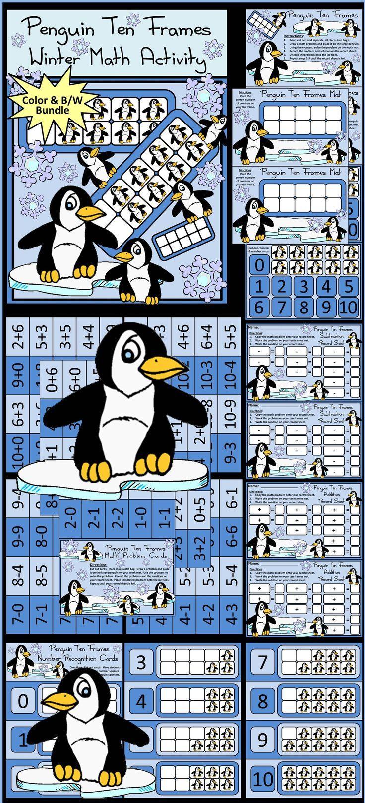 Penguin Activities: Penguin Ten Frames Winter Math Activity | Ten ...