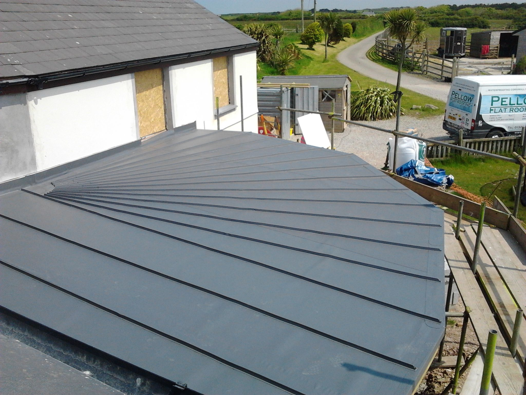 Single Ply Roofing Cornwall Pellow Flat Roofing Ltd Gable Roof Design Roof Architecture Single Ply Roofing