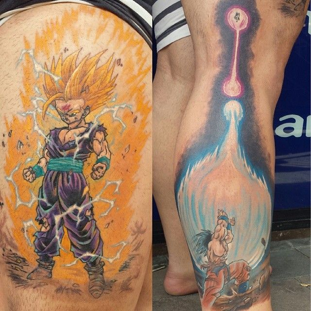 gohan and goku dbz ink by steve butcher incredible