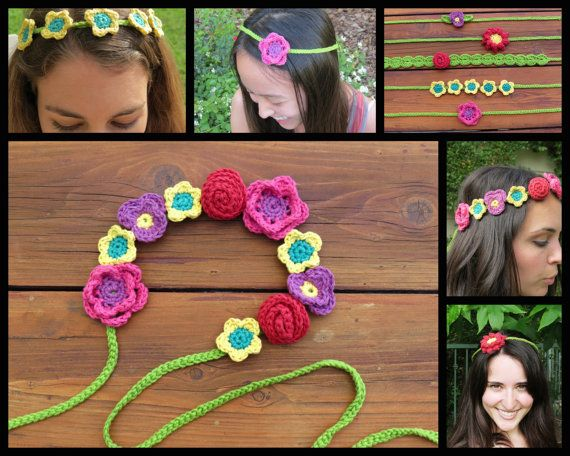 #Boho #Crochet #Flower Headband Pattern - Have fun with these wildflowers!  Each…
