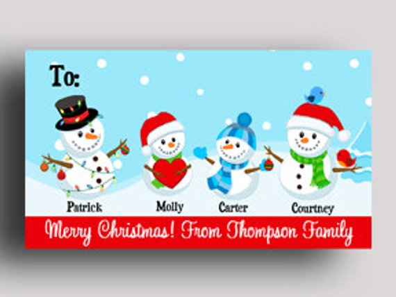 Personalized Christmas Gift Tags - PRINTED or PRINTABLE - Labels