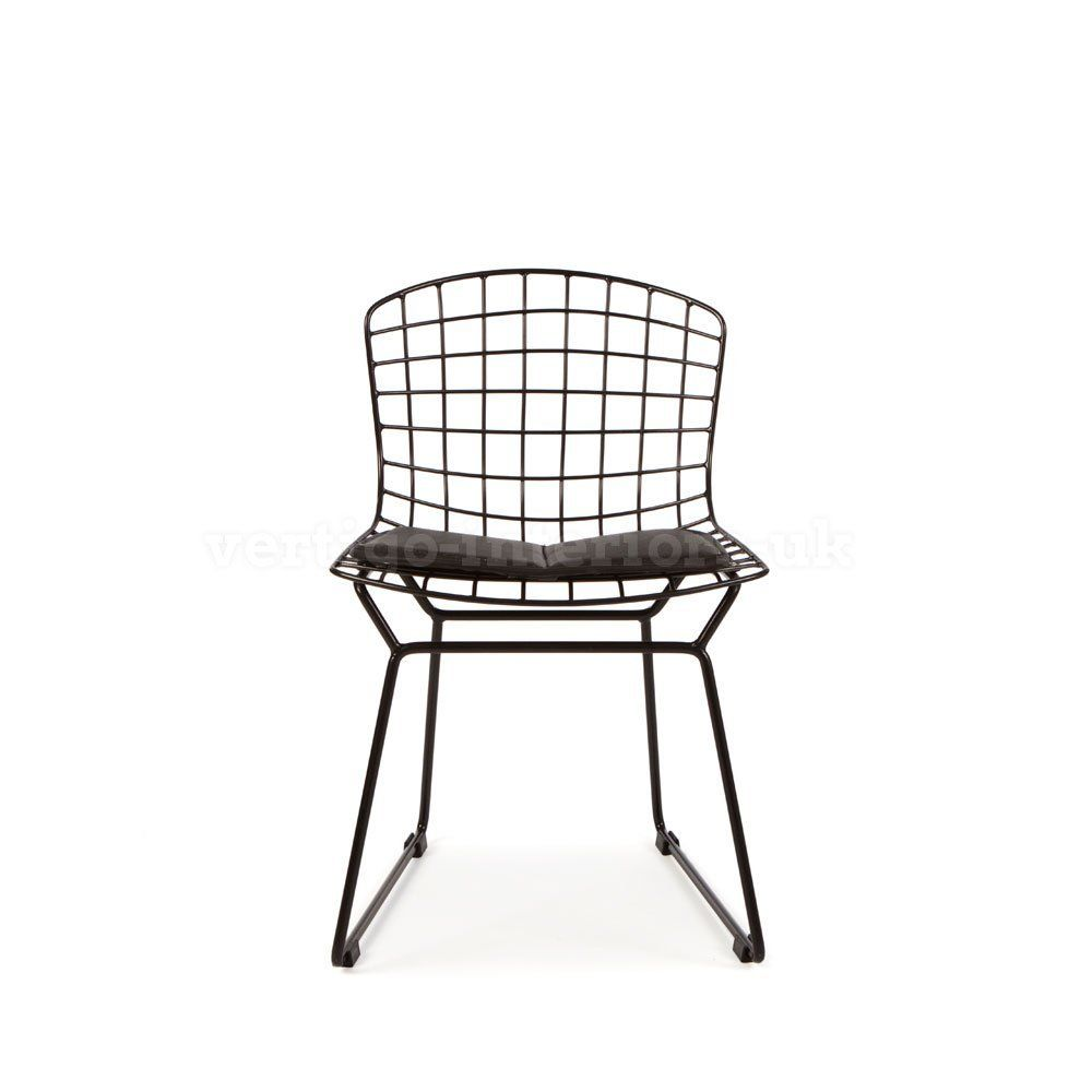 Kids Bertoia Style Wire Playroom Lounge Dining Side Chair Black Co