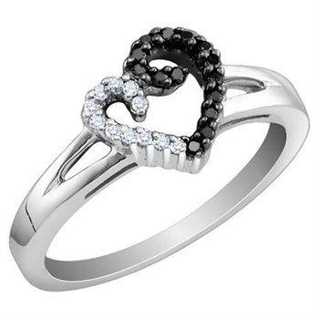 White and Black Diamond Heart Ring 1/5 Carat