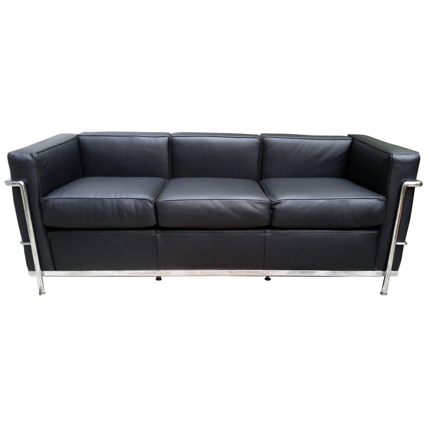 Enjoyable Lc2 Le Corbusier Three Seat Sofa In Black Leather Grained Machost Co Dining Chair Design Ideas Machostcouk