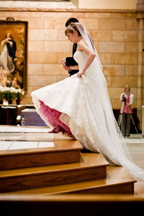 Wedding dresses with colored crinoline