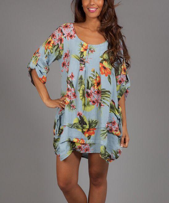 995cce0988 Blue   Yellow Floral Alia Linen Scoop Neck Dress