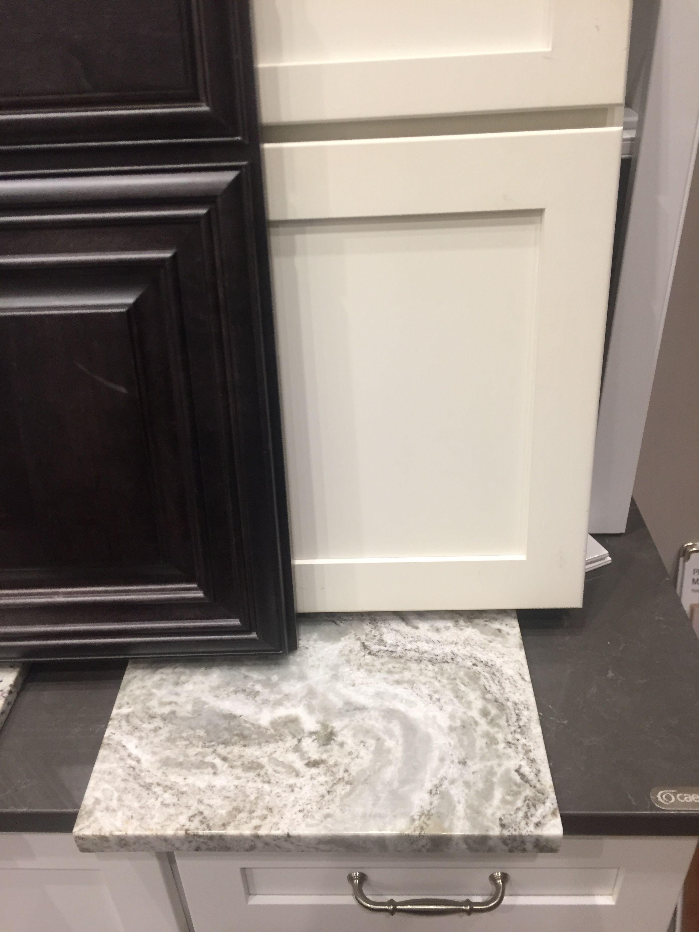 Off White Cabinets Onyx Island Fantasy Brown Granite