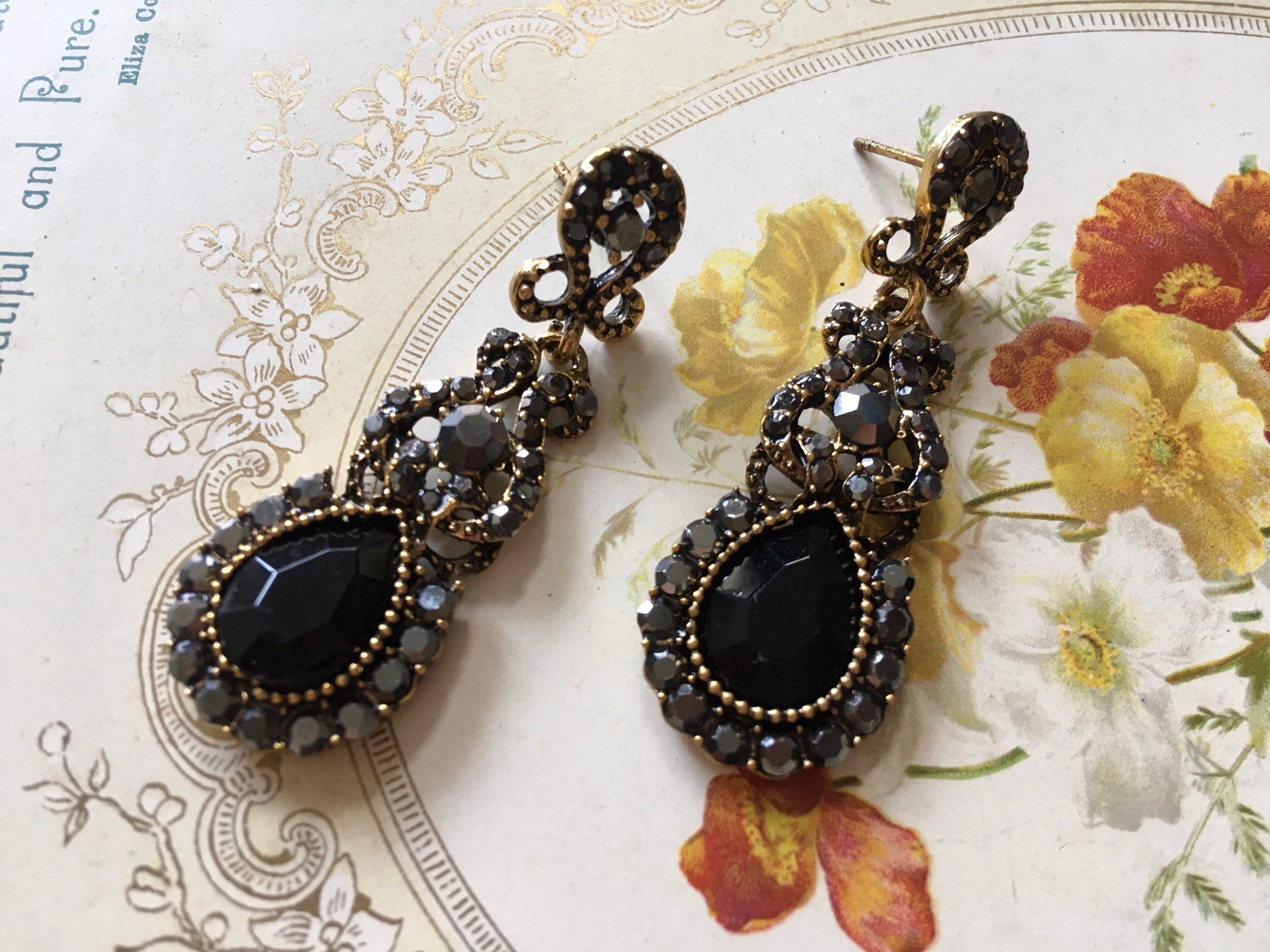 Excited to share this item from my shop: Gothic jewelry, rhinestone earrings, crystal earrings, bridal jewelry, wedding jewelry, black earring, long drop earrings, evening earrings #black #wedding #women #pushback #artnouveau #earlobe #gothic