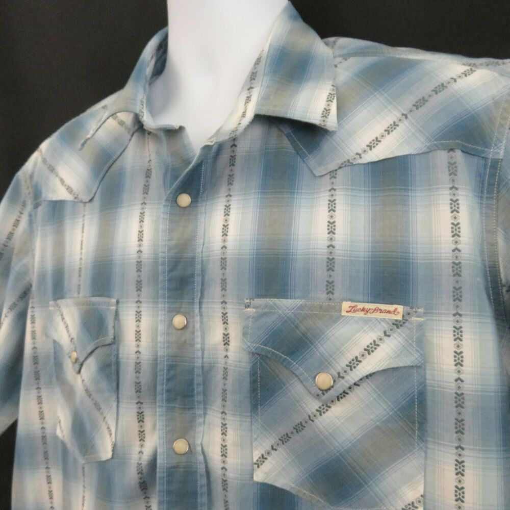 8f38d29a Lucky Brand Mens XL Blue Plaid Pearl Snap Western Shirt Short Sleeve # LuckyBrand #Western