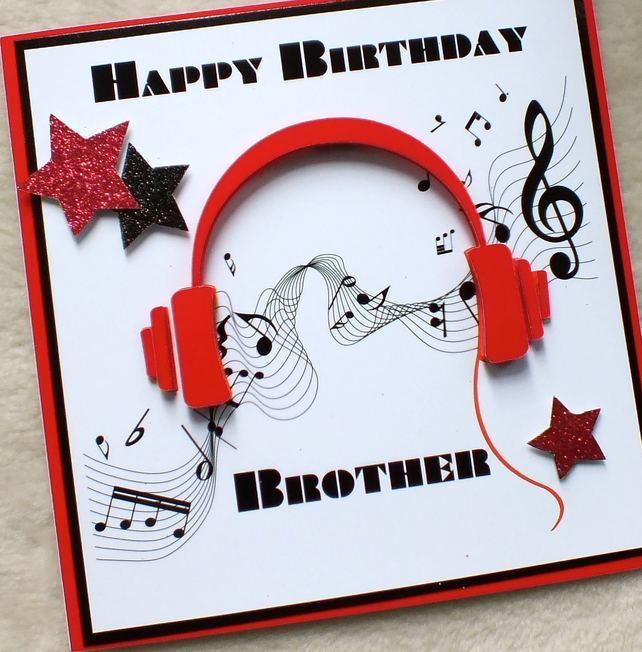 Handmade Brother 3D Music Headphones Birthday Card in 2020