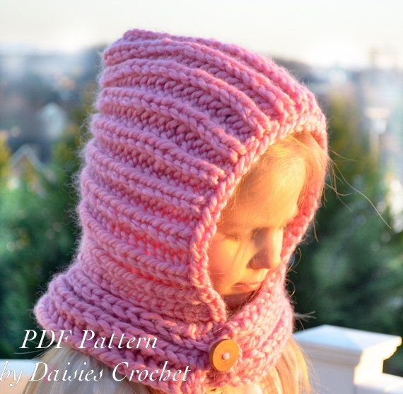 Knitting Hooded Cowl PATTERN. Knit scarf. Knit neck warmer pattern ...