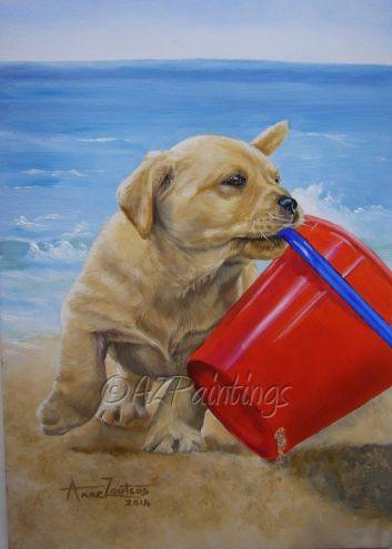 Beach Fun Labrador Puppy Oil Painting By Artist Anne Zoutsos On