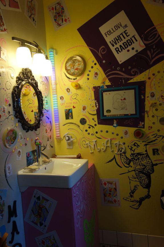 Alice In Wonderland Bathroom At The Rabbit Hole Wine Tasting Room In