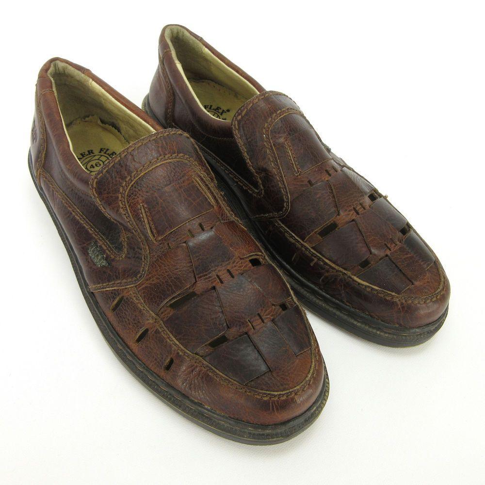 839ab9df4cb29 Walker Flex Mens Loafers 46 EU 12 US Fisherman Brown Leather Weave ...