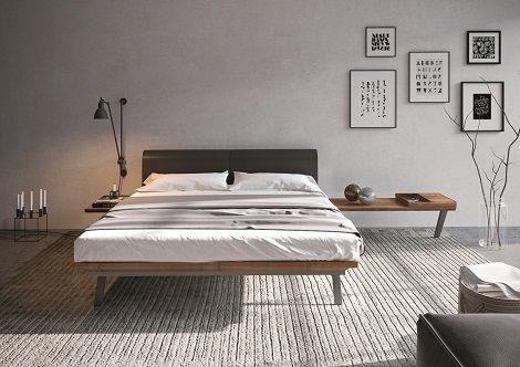 Hulsta bed hoofdbord leer bruin zwevend nachtkast plank huelsta