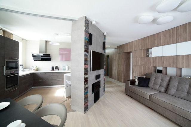 Kleines Wohnzimmer Essecke Raumteiler Wand Neutrale Farben Holztöne Offenes  Wohnen