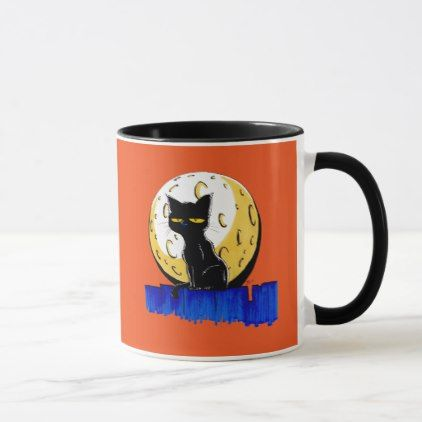 Black Halloween Cat Mug