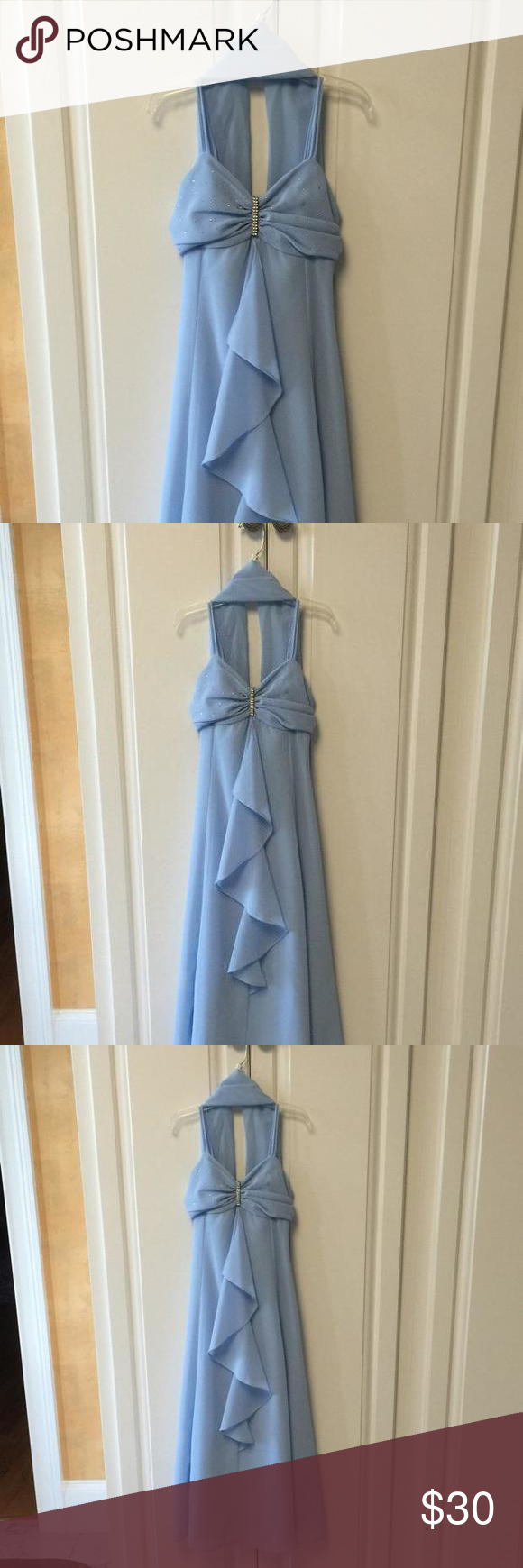 Bono kids long light blue formal dress size includes scarf