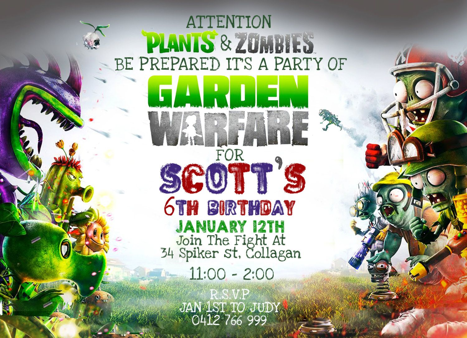 personalized plants vs zombies invitation instant digital download birthday party supplies by memoriesbykristielee on - Zombie Party Supplies