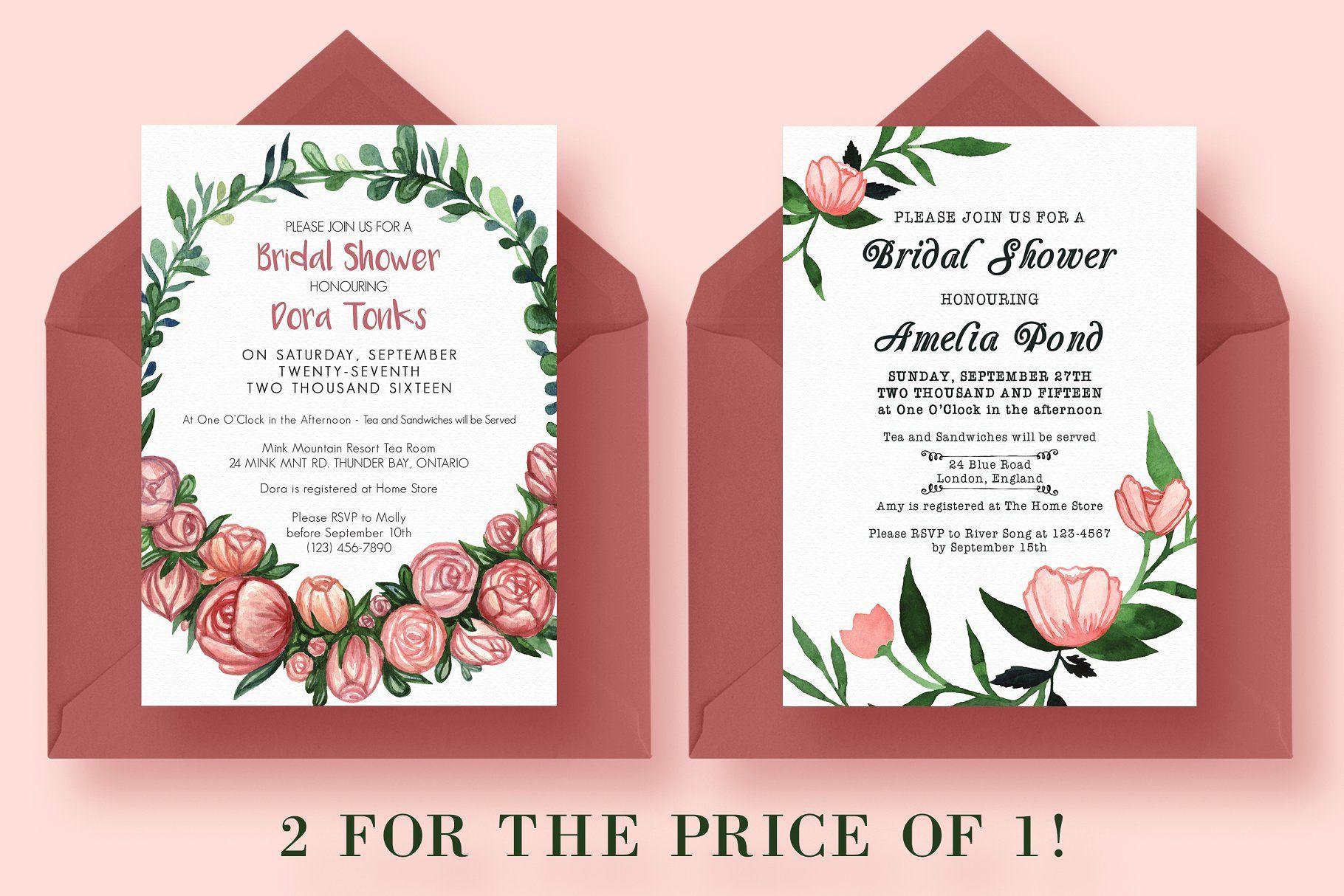 2 FOR 1 Bridal Shower Invitations #Shower#Bridal#Invitations ...