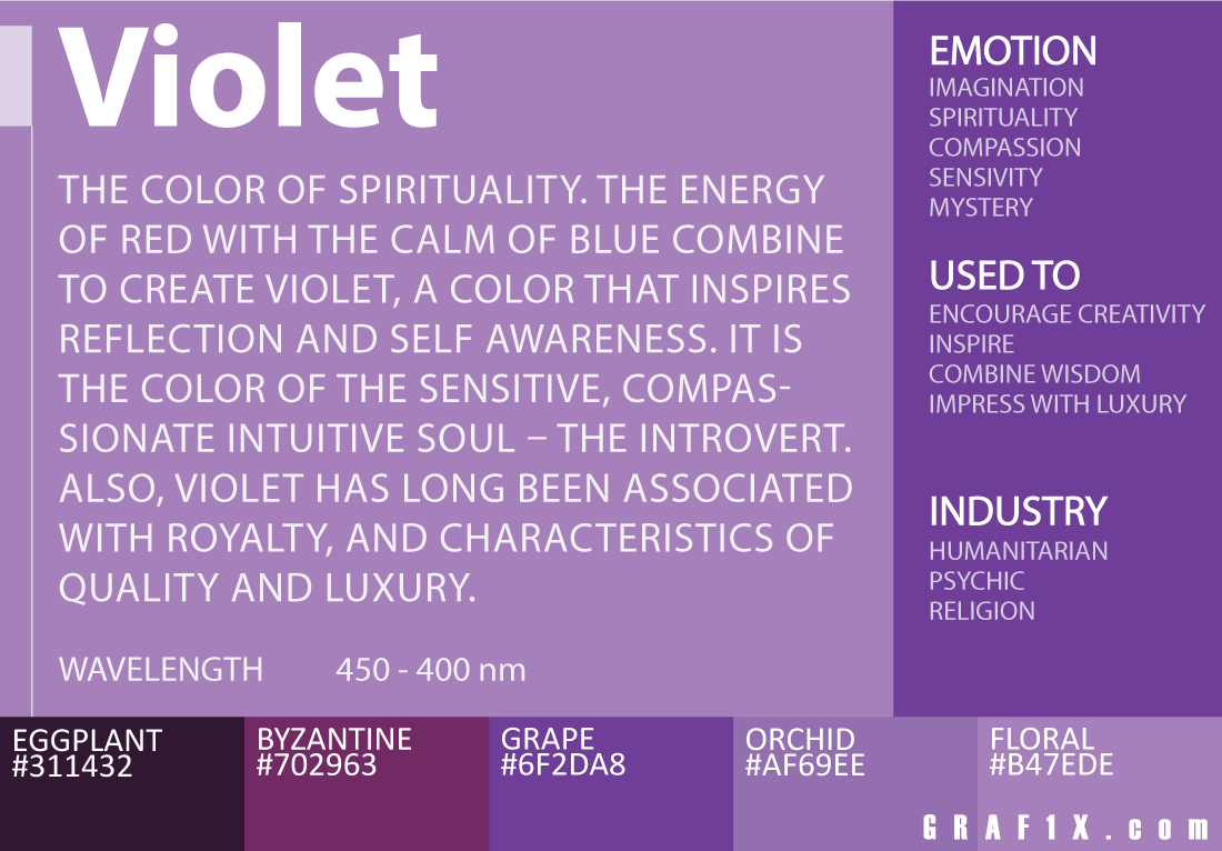 Violet Color Meaning Color And Style Analysis Pinterest Orange
