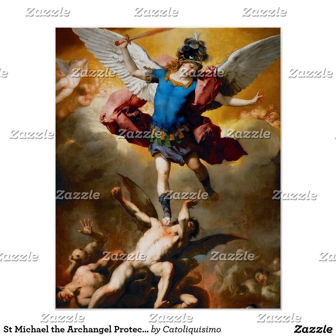 St Michael The Archangel Protector Of Evil Poster Zazzle Com