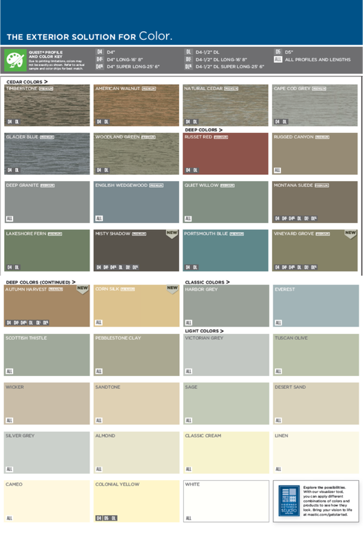 Mastic plygem quest siding color choices ideas for the house in 2019 pinterest siding for Exterior house paint comparison chart