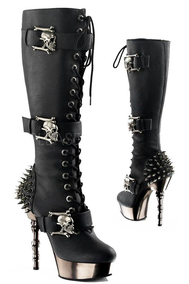 72b832d1ae5 Demonia Boots Black Spike Heel Boots - £94.99   From ANGEL CLOTHING ...