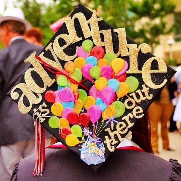 Up Themed Graduation Cap Decorating