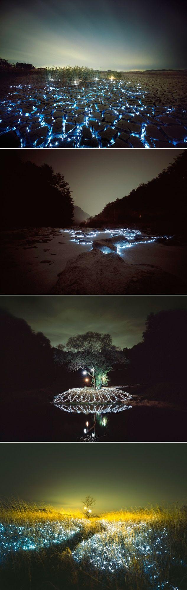 Starry Night: Light Installations por Lee Eunyeol, invita a disfrutar de la naturaleza de noche con sus combinaciones de luz y color.