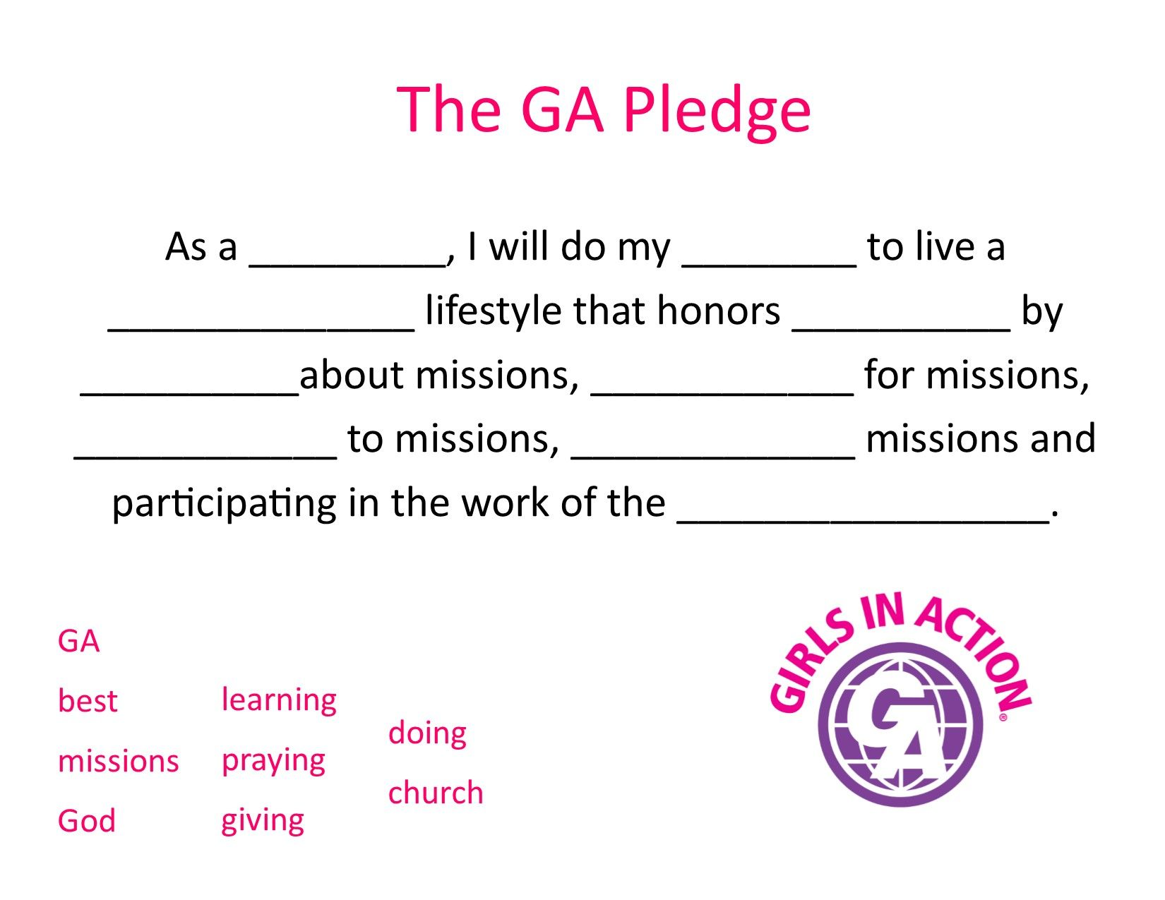 Learning The Ga Pledge Made Easy With This Fill In The