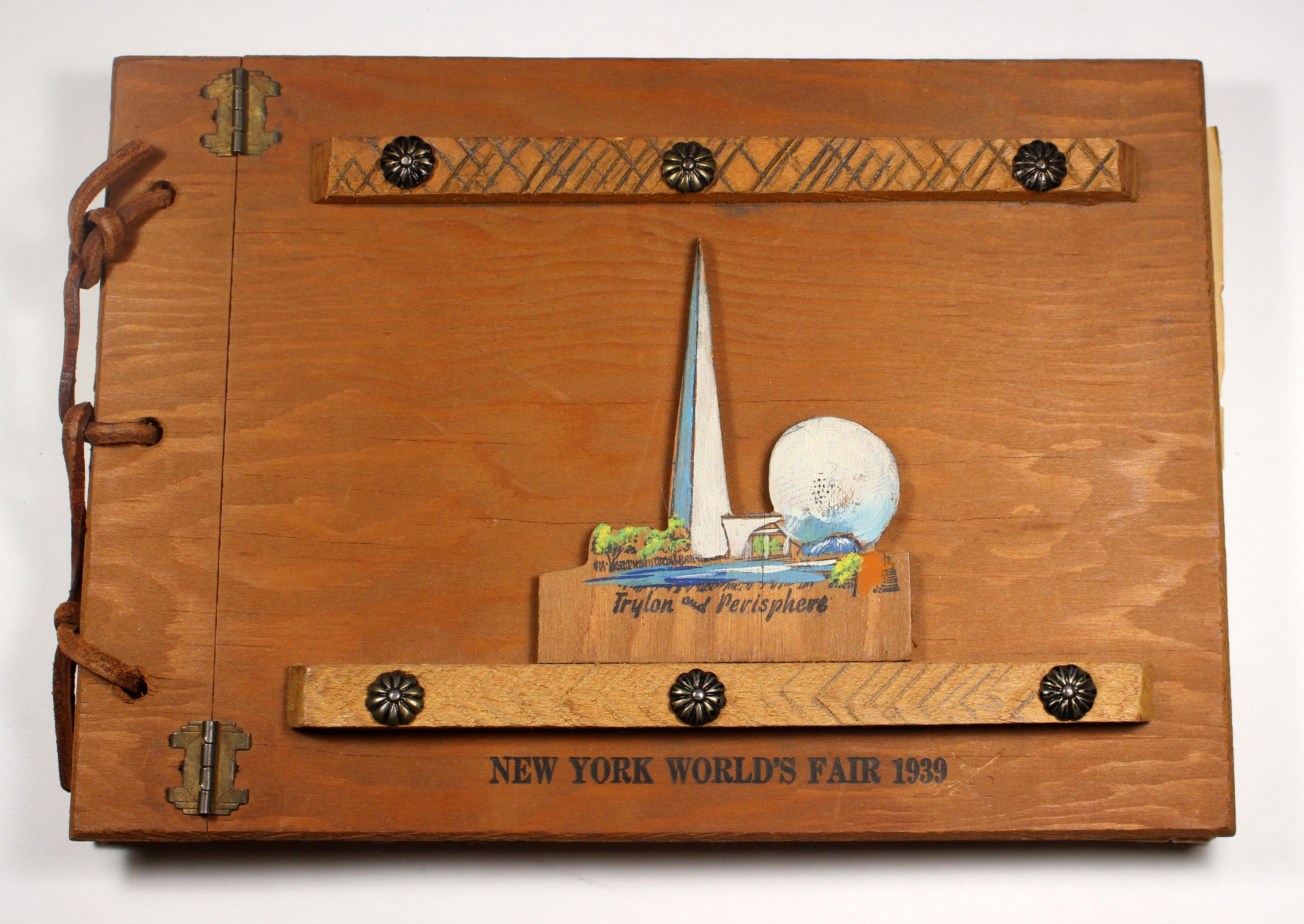 1939 New York Worlds Fair Wooden Scrapbook Vintage Souvenirs
