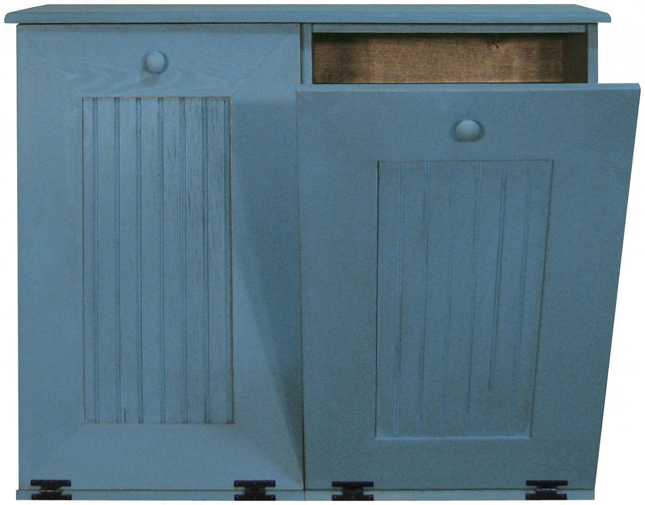 Wooden Kitchen Trash Containers Wood Tilt Out Kitchen Trash And Recycle Bin With Two