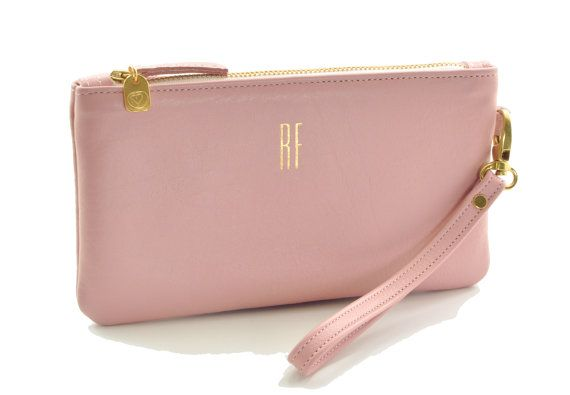 Vintage Pink Monogrammed Wristlet Clutch Leather Wallet Small Purse Personalized
