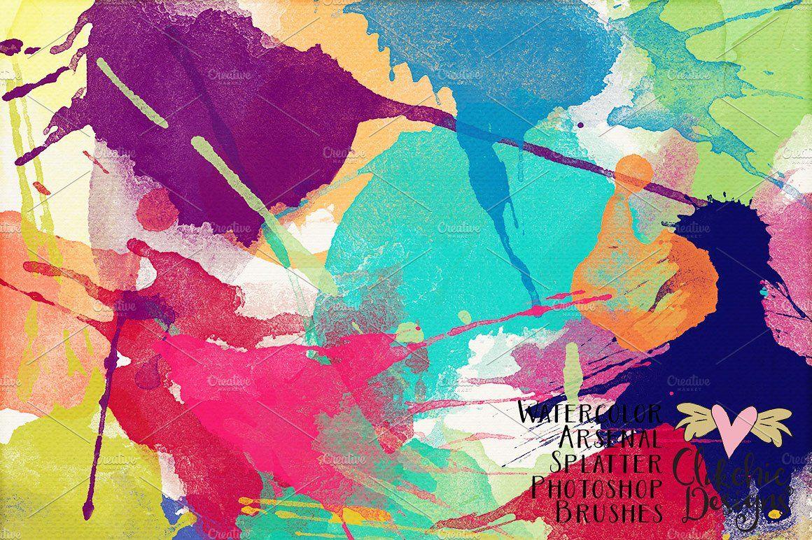 Water Color Arsenal Splatter Brushes Paint Splatters Arty
