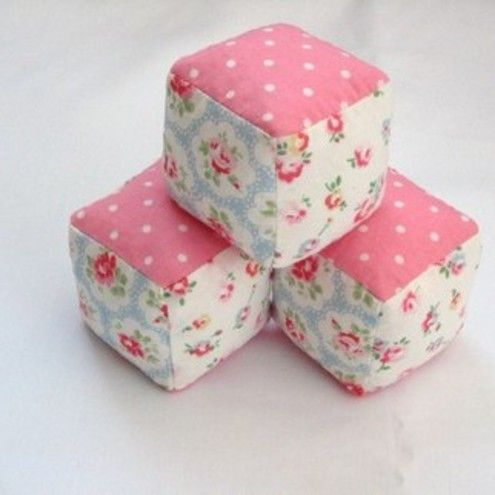 3 small fabric PLAY BLOCKS - Cath Kidston - these must be quite simple to make.  Fill with beans (bean bag styley) for a good weight. Good for a baby gift.