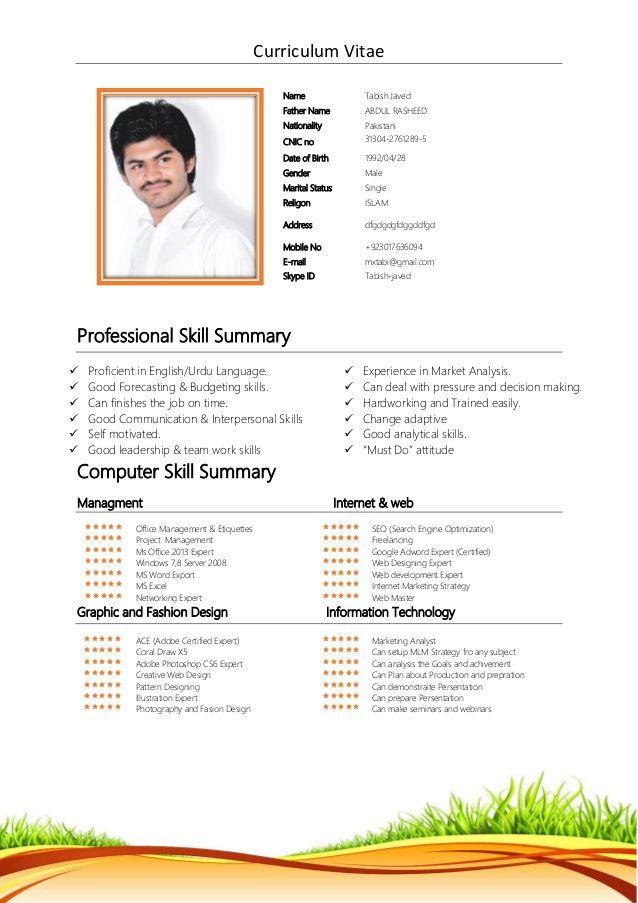Curriculum Vitae Professional Skill Summary Proficient In