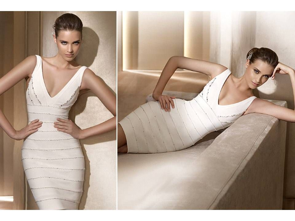 v neck white herve leger inspired pronovias little white dress wedding reception dress