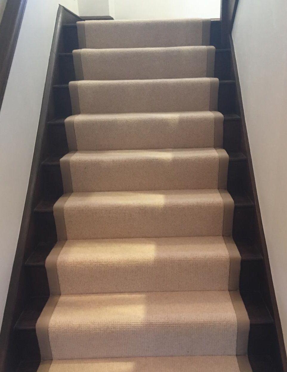 Best Cream Wool Loop Pile Carpet Fitted As Taped Stair Runner 400 x 300