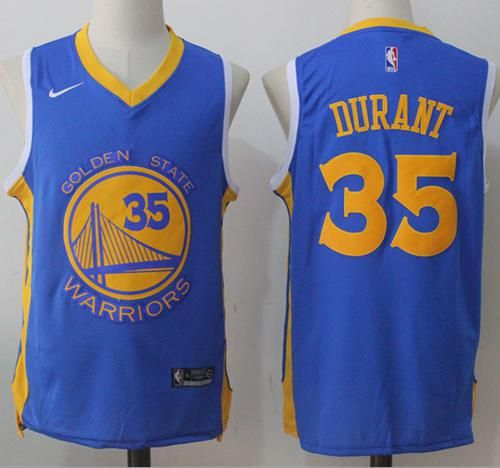 f4f2f567078 Nike Warriors #35 Kevin Durant Royal Road Stitched NBA Jersey ...