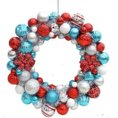 Martha Stewart 24 in. North Pole Shatter-Resistant Ornament Wreath ...