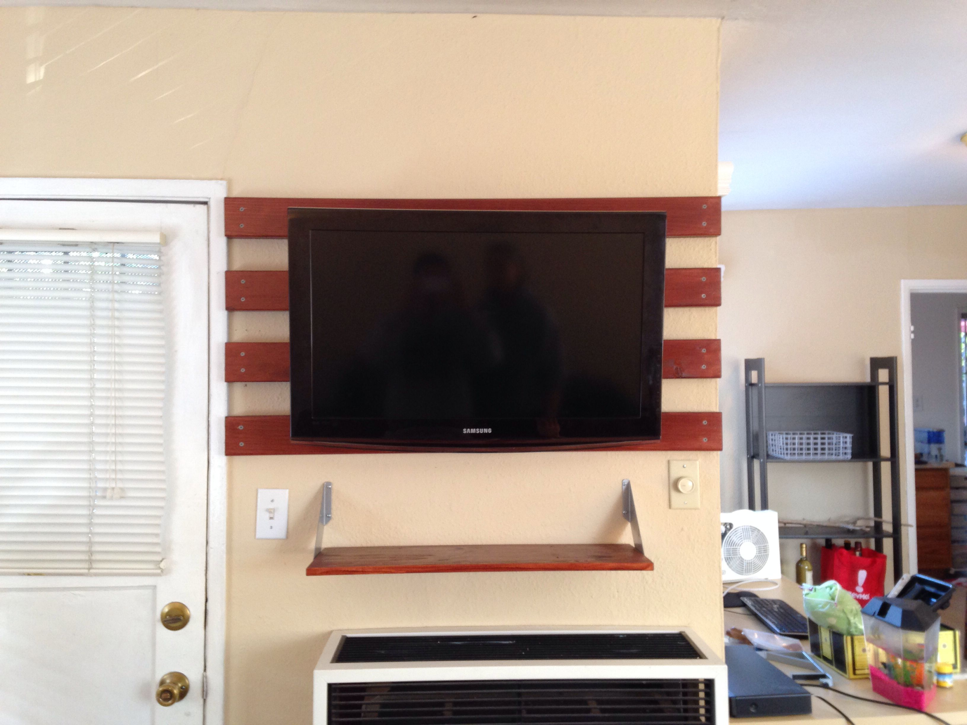 Dyi Wall Mounted Tv With No Stud We Wanted To Wall Mount Tv But Couldn T Find A Stud In The Appropriate Place Wall Mounted Tv Mounted Tv Living Room Remodel