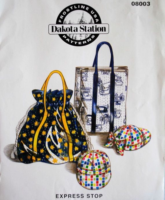 Uncut Beachbag Grocery Sack Bag Adult & Child Billed Cap Hat With Without Bow Paper Accessories Craft Paper Sewing Pattern Dakota Station