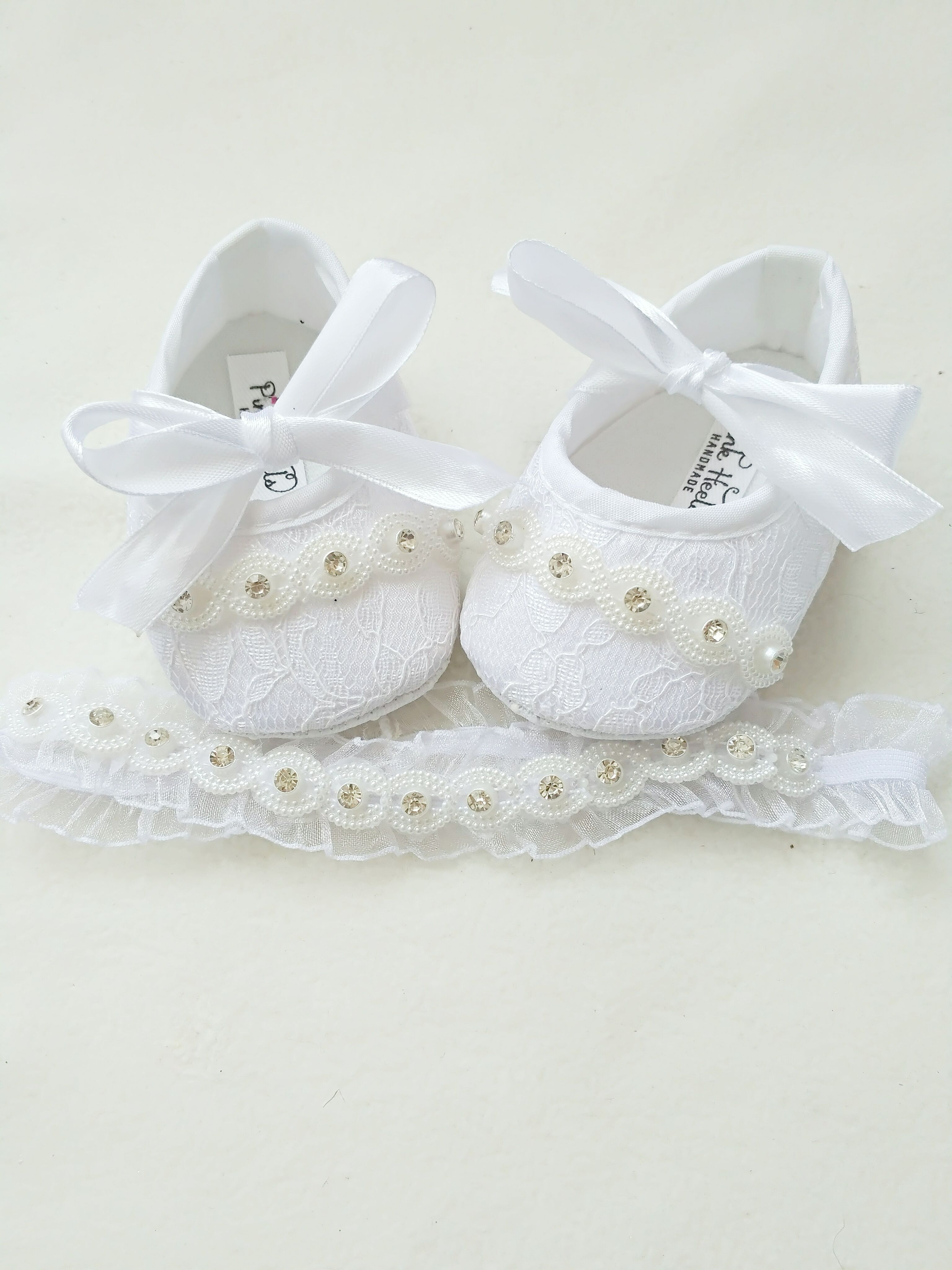 GIRLS BABY CHRISTENING PRAM SHOES WHITE WITH ROSE TODDLER INFANT SIZE 0-3 MONTHS