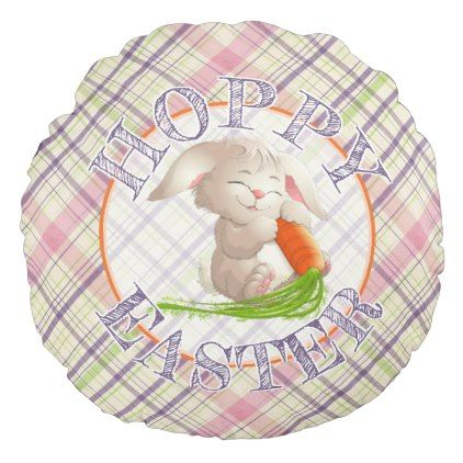 Hoppy happy easter bunny stripes and plaid pattern round pillow hoppy happy easter bunny stripes and plaid pattern round pillow fun gifts funny diy customize negle Image collections