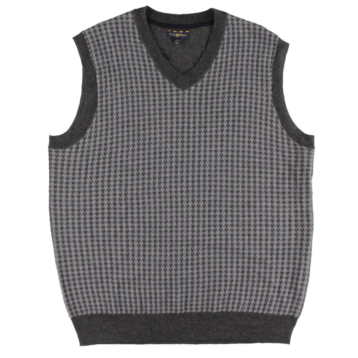 Club Room Mens Big & Tall Merino Wool Blend Houndstooth Sweater ...