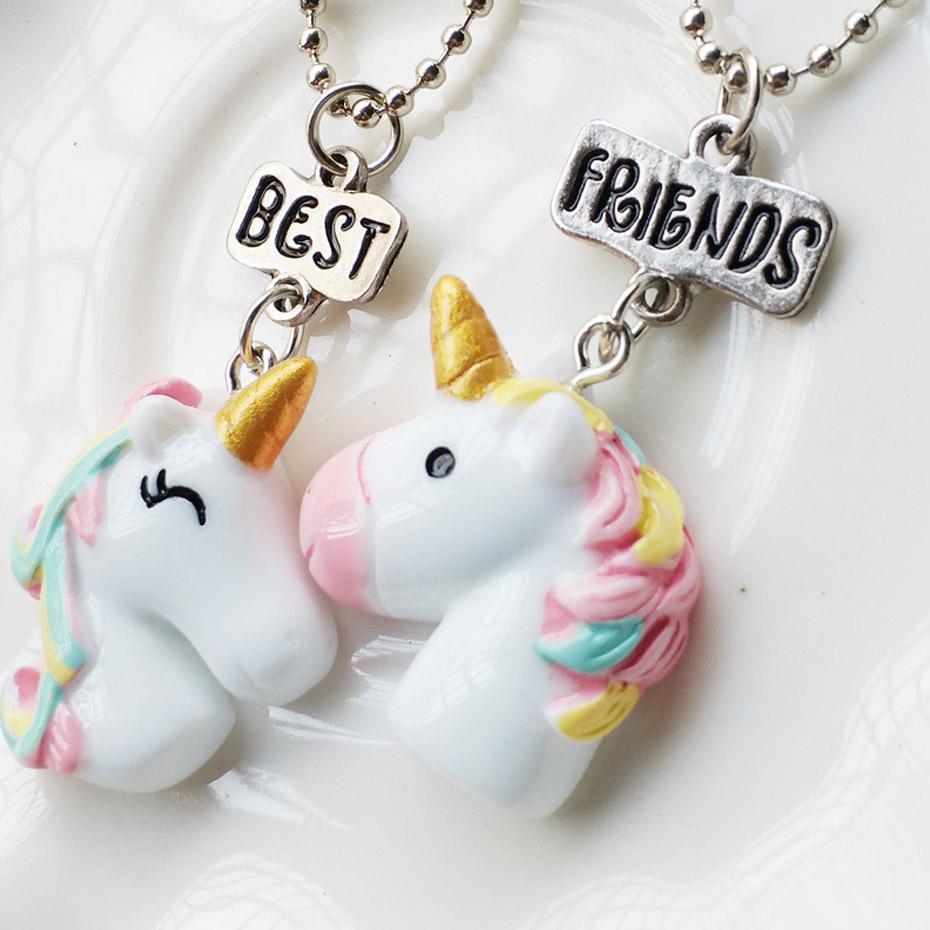 2pcs Unicorn Friendship Or Best Friend Necklaces Pendants For