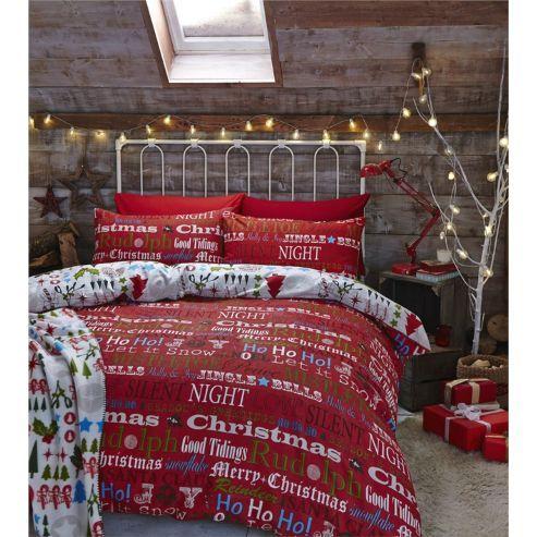 Tesco Direct Catherine Lansfield Christmas Slogans Duvet Cover Set Double Christmas Bedding Christmas Duvet Cover Comforter Sets