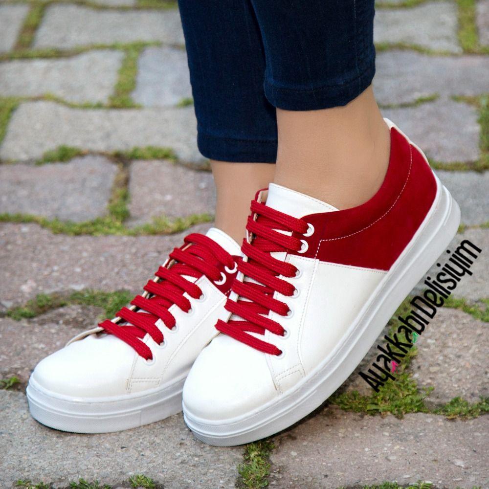 Kirmizi Beyaz Spor Ayakkabi Sneakers White Red Ayakkabilar Bayan Ayakkabi Spor