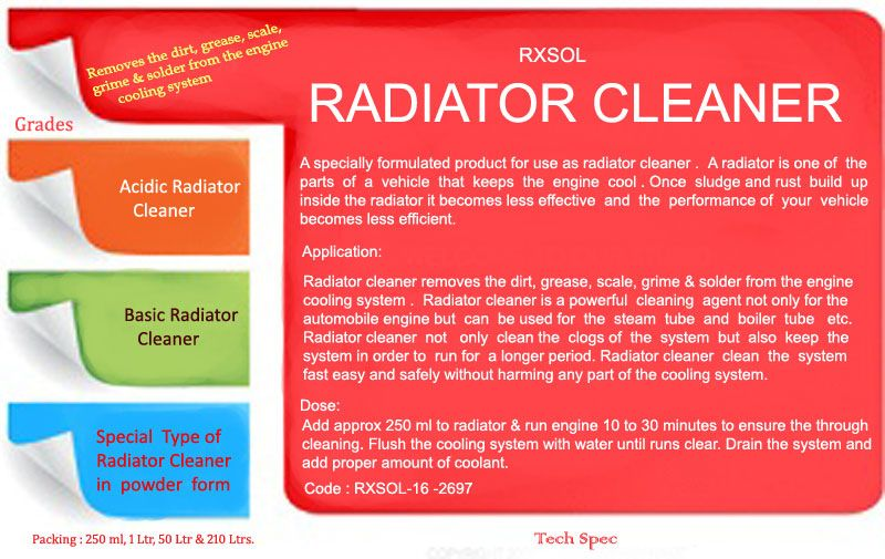Radiator Cleaner Remove The Dirt Grease Scale Grime Solder From
